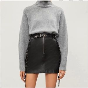 The Kooples Belted Lace Up Leather Skirt